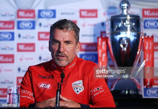 Adelaide United head coach Marco Kurz speaks to the media during a press conference at Allianz Stadium on November 20 2017 ahead of tomorrow's FFA...
