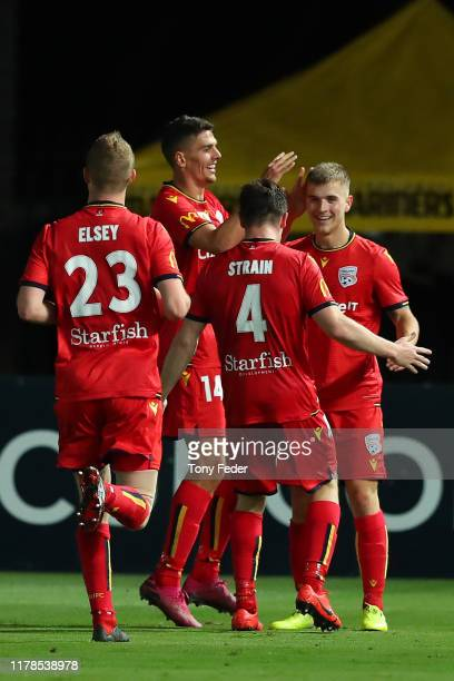 Adelaide United players celebrate a goal during the FFA Cup 2019 Semi Final between the Central Coast Mariners and Adelaide United at Central Coast...