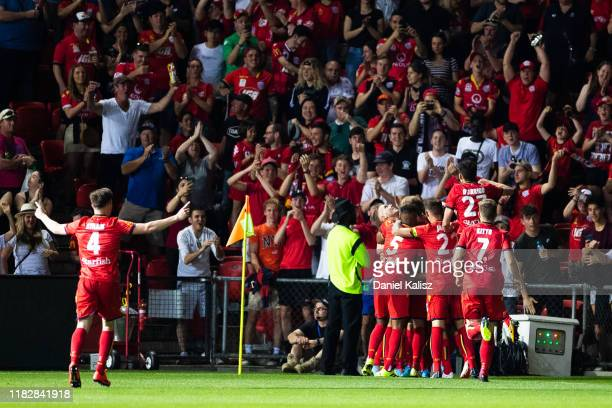 Adelaide United players celebrate during the FFA Cup Final between Adelaide United and Melbourne City at Coopers Stadium on October 23, 2019 in...