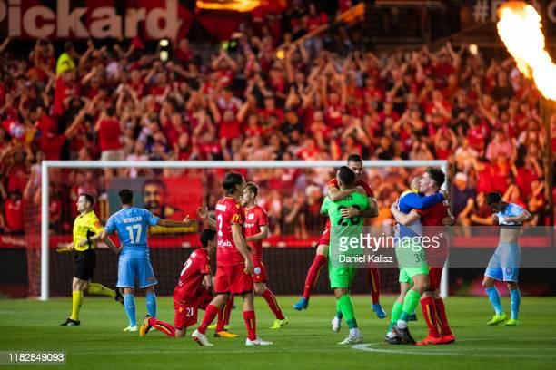 Adelaide United players celebrate on the final whistle during the FFA Cup Final between Adelaide United and Melbourne City at Coopers Stadium on...