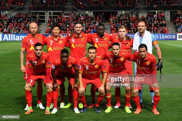 Adelaide United players pose for a photo prior to the AFC Champions League match between Adelaide United and Jiangsu Sainty at Hindmarsh Stadium on...