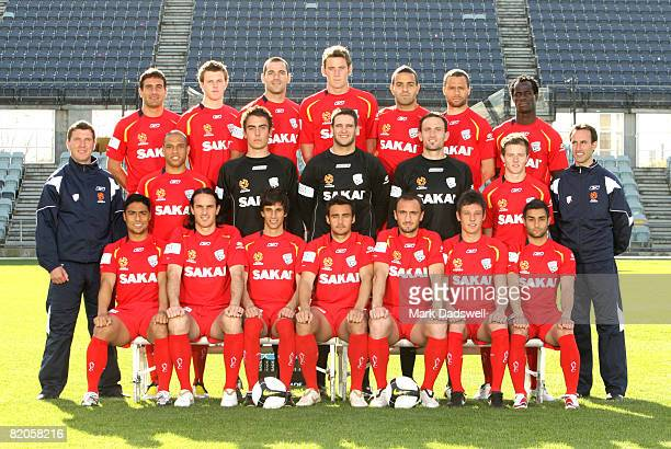 Adelaide United players pose for an official teamshot during the official Adelaide United 2008/2009 Hyundai ALeague portrait session at Hindmarsh...