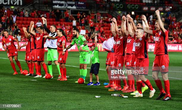 Adelaide United tahnks their fans after winning the round 26 ALeague match between Adelaide United and Melbourne Victory at Coopers Stadium on April...