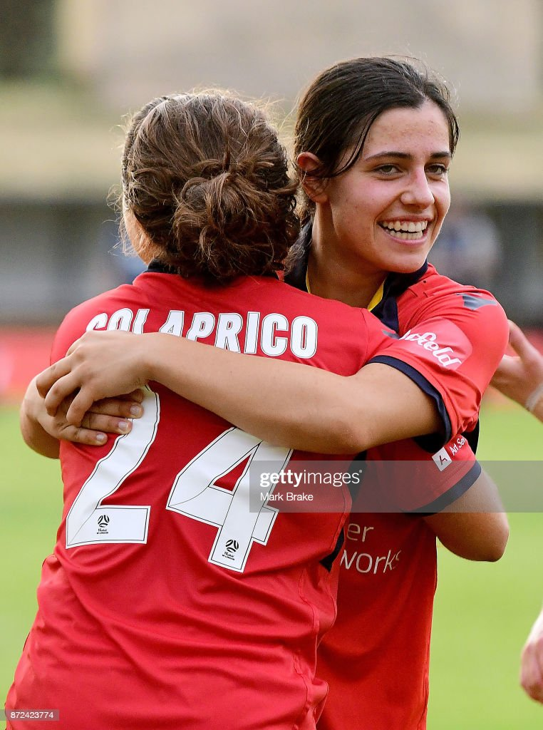 Adelaide United's Alexandra Chidiac and Danielle Colaprico after the round three W-League match between Adelaide United and the Perth Glory at Marden Sports Complex on November 10, 2017 in Adelaide, Australia.