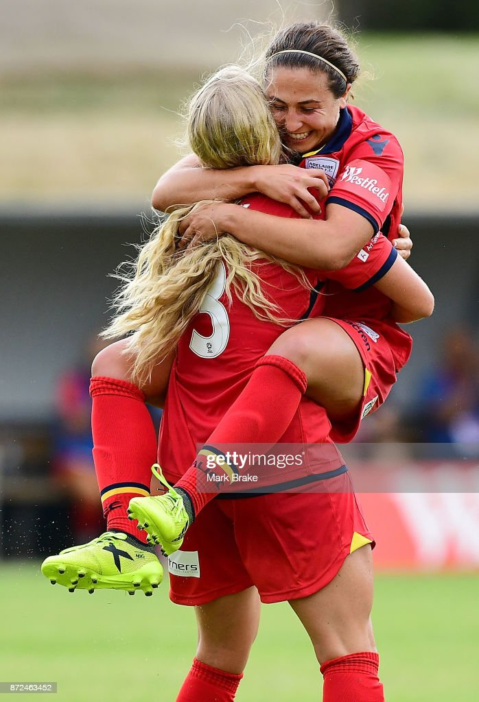 Adelaide United's Makenzy Doniak scores her hatrick and celebrates with Danielle Colaprico during the round three W-League match between Adelaide United and the Perth Glory at Marden Sports Complex on November 10, 2017 in Adelaide, Australia.