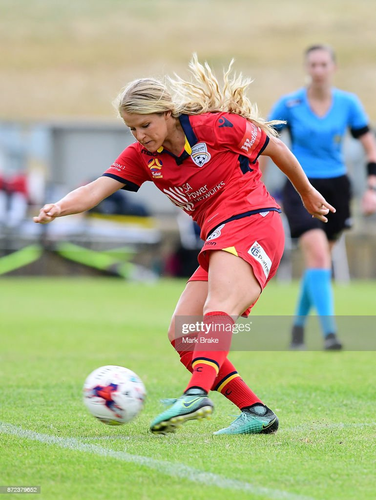 Adelaide United's Makenzy Doniak scores her hatrick during the round three W-League match between Adelaide United and the Perth Glory at Marden Sports Complex on November 10, 2017 in Adelaide, Australia.