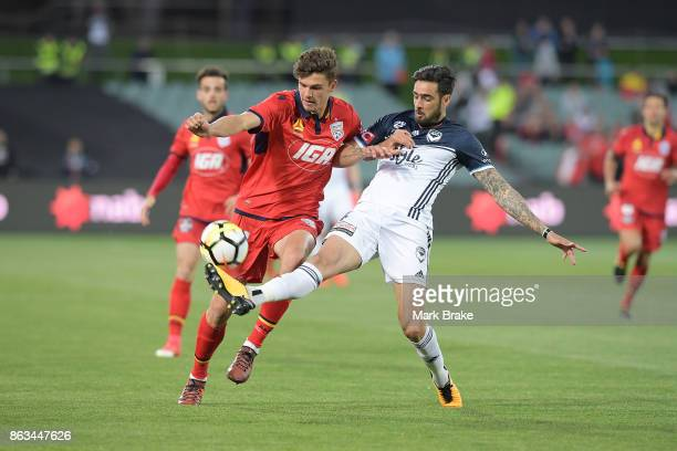 Adelaide's George Blackwood competes with Melbourne's Rhys Williams during the round three ALeague match between Adelaide United and Melbourne...