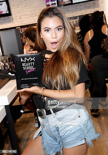 Adelaine Morin @adelainemorin shops instore before kicking off her Influencer Meet Greet with fans during the NYX Professional Makeup Store Glendale...