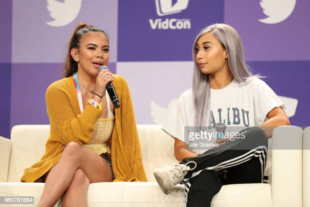 Adelaine Morin and Eva Gutowski aka MyLifeAsEva speak onstage during the 'Where my Girls At' panel at the 9th Annual VidCon at Anaheim Convention...