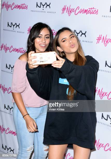 Adelaine Morin and guest at the 2017 NYX Professional Makeup FACE Awards Expo at The Shrine Auditorium on August 19 2017 in Los Angeles California