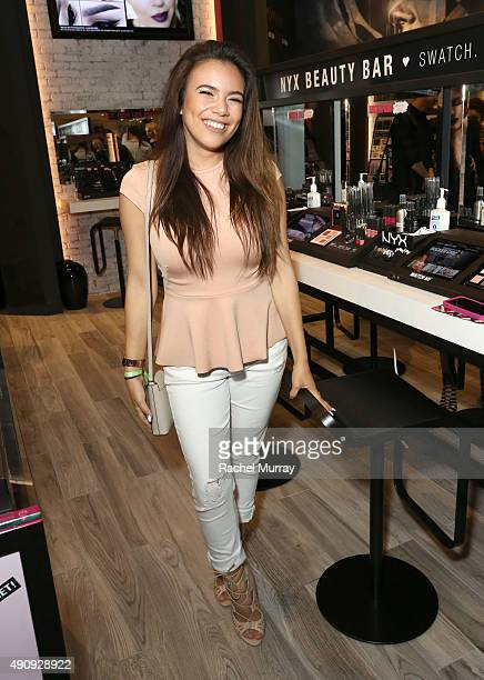 Adelaine Morin attends the World's 1st NYX store Grand Opening VIP preview party at Westfield Santa Anita on October 1 2015 in Arcadia California