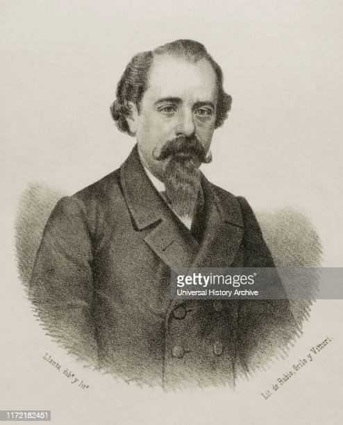 Adelardo Lopez de Ayala y Herrera Spanish writer and politician Lithography 1870
