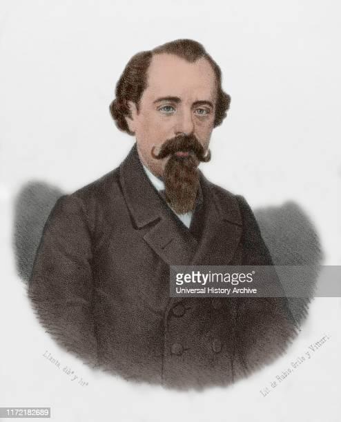 Adelardo Lopez de Ayala y Herrera Spanish writer and politician Lithography 1870 Later colouration