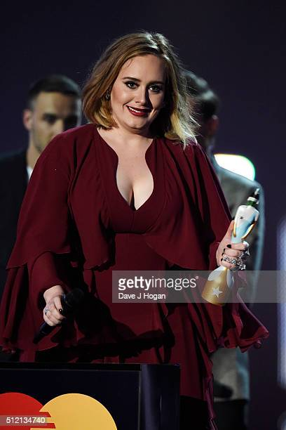 Adele accepts an award at the BRIT Awards 2016 at The O2 Arena on February 24 2016 in London England