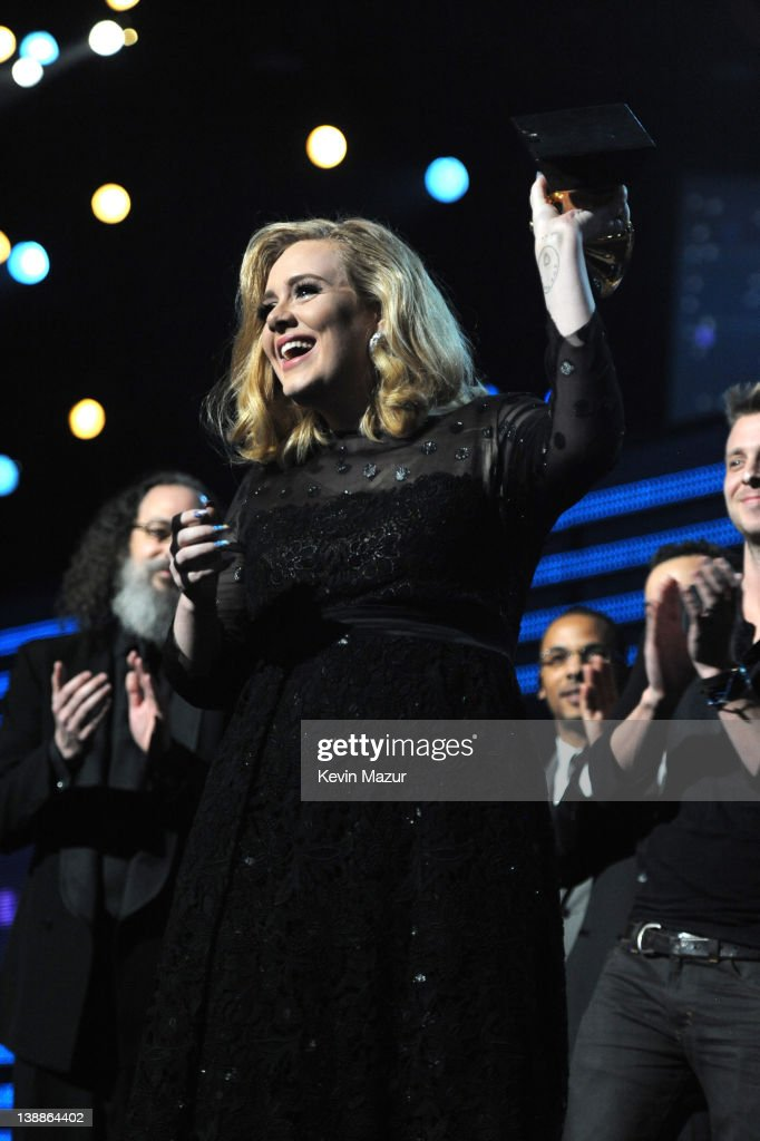Adele accepts award onstage at The 54th Annual GRAMMY Awards at Staples Center on February 12, 2012 in Los Angeles, California.