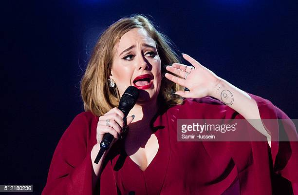 Adele accepts the Global Success Award at the BRIT Awards 2016 at The O2 Arena on February 24 2016 in London England