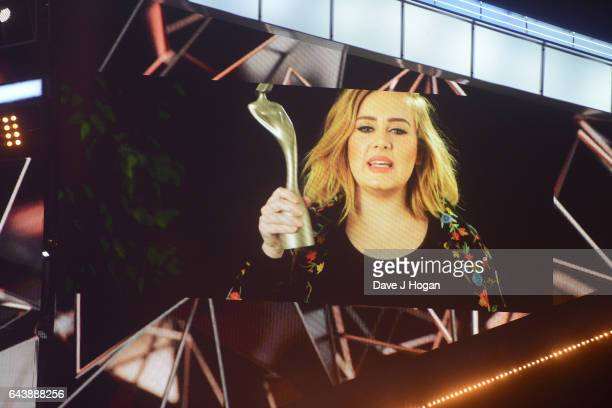 ONLY Adele accepts the Global Success Award at The BRIT Awards 2017 at The O2 Arena on February 22 2017 in London England