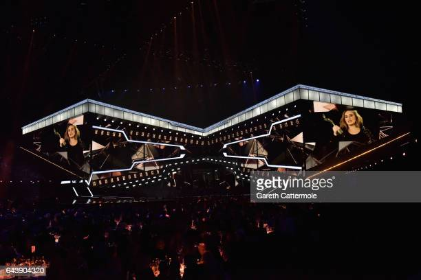 Adele accepts the Global Success Award via video link at The BRIT Awards 2017 at The O2 Arena on February 22 2017 in London England