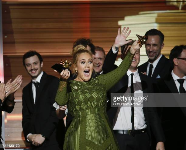 Adele accepts the Grammy Award for Album of the Year during THE 59TH ANNUAL GRAMMY AWARDS broadcast live from the STAPLES Center in Los Angeles...