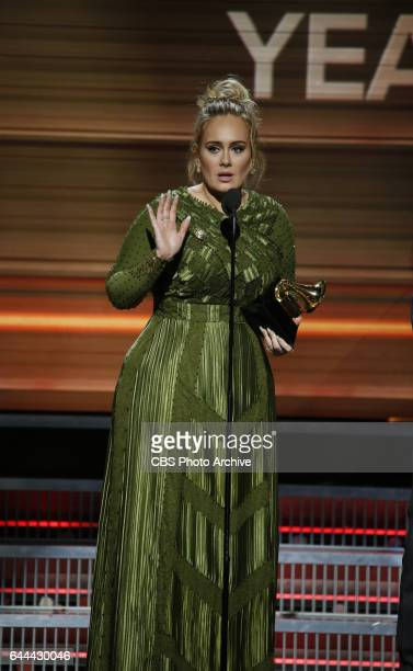 Adele accepts the Grammy Award for Song of the Year during THE 59TH ANNUAL GRAMMY AWARDS, broadcast live from the STAPLES Center in Los Angeles,...