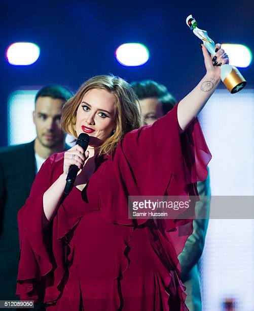 Adele acceptsAdele with her Best British Female Solo Artist award at the BRIT Awards 2016 at The O2 Arena on February 24 2016 in London England