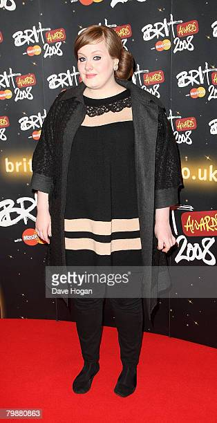 Adele Adkins arrives at the BRIT Awards 2008 at Earls Court 1 on February 20 2008 in London England