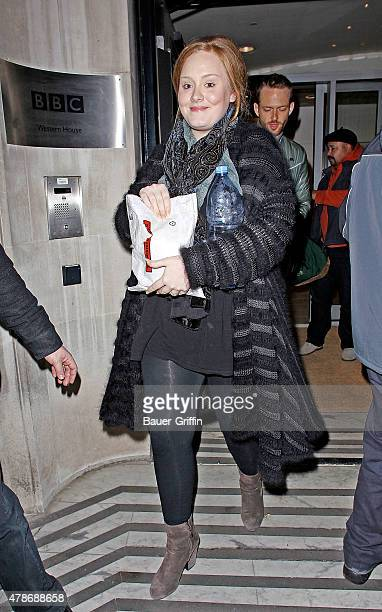 Adele Adkins is seen arriving at the BBC Radio Two studios on January 22, 2011 in London, United Kingdom.