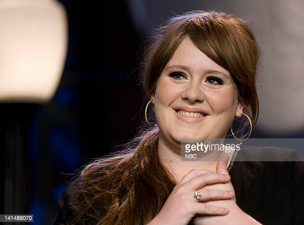 LENO Adele Air Date Episode 3659 Pictured Musical guest Adele on November 18 2008 Photo by Paul Drinkwater/NBCU Photo Bank