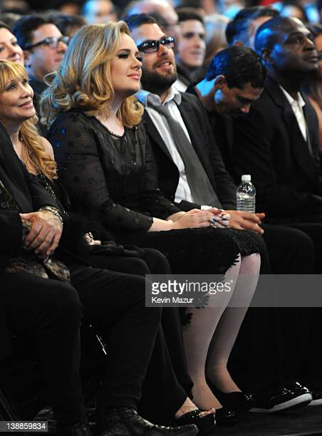 Adele and Dimon Konecki attend The 54th Annual GRAMMY Awards at Staples Center on February 12 2012 in Los Angeles California