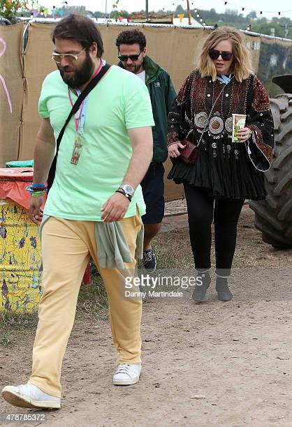 Adele and Simon Konecki at the Glastonbury Festival at Worthy Farm Pilton on June 27 2015 in Glastonbury England