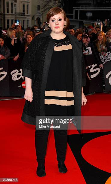 Adele arrives at the 2008 Brit Awards at Earls Court on February 20 2008 in London England