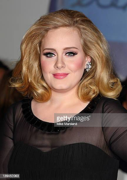 Adele arrives at The BRIT Awards 2012 at O2 Arena on February 21, 2012 in London, England.