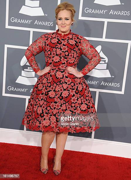Adele arrives at the The 55th Annual GRAMMY Awards on February 10 2013 in Los Angeles California