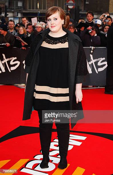 Adele arrives at the The Brit Awards 2008 at Earls Court on February 20 2008 in London England