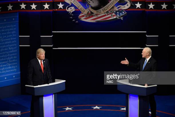 "Adele"" Episode 1789 -- Pictured: Alec Baldwin as Donald Trump and Jim Carrey as Joe Biden during the ""Final Debate"" Cold Open on Saturday, October..."