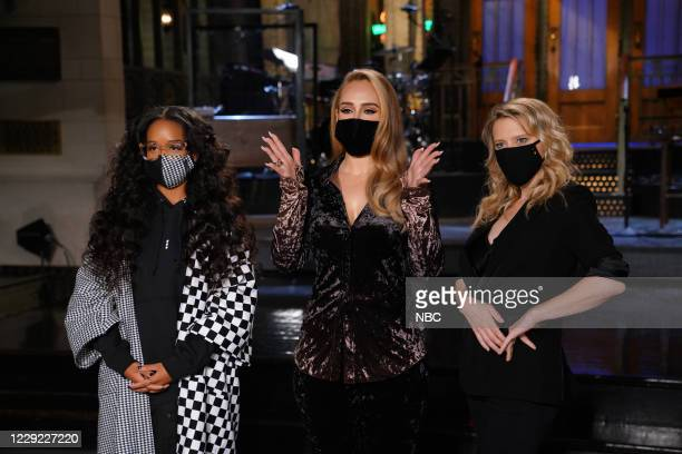 """Adele"""" Episode 1789 -- Pictured: Musical guest H.E.R., host Adele, and Kate McKinnon during Promos in Studio 8H on Thursday, October 22, 2020 --"""