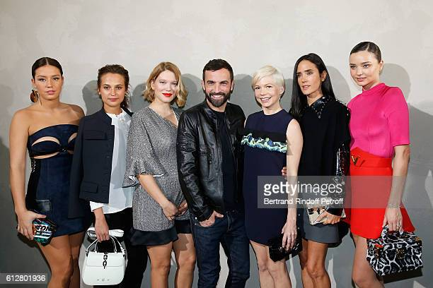 Adele Exarchopoulos Alicia Vikander Lea Seydoux Stylist Nicolas Ghesquiere Michelle Williams Jennifer Connelly and Miranda Kerr pose after the Louis...