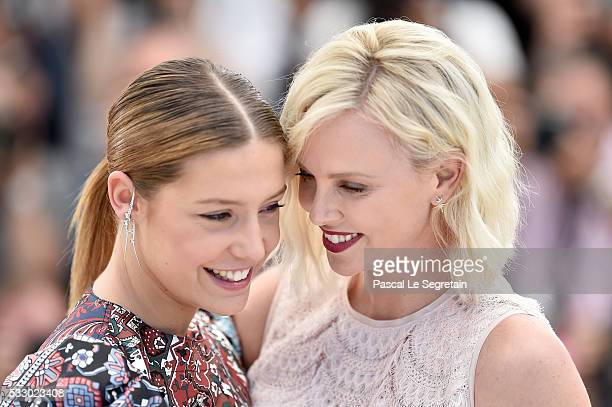 Adele Exarchopoulos and Charlize Theron attend 'The Last Face' Photocall during the 69th annual Cannes Film Festival at the Palais des Festivals on...