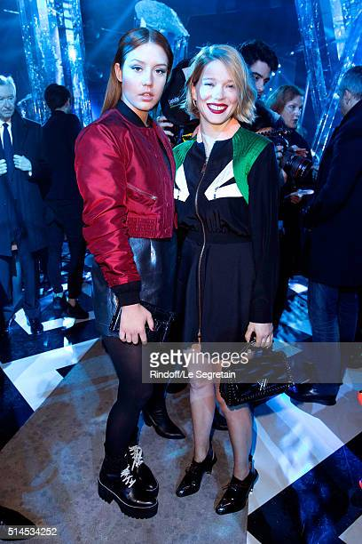 Adele Exarchopoulos and Lea Seydoux attend the Louis Vuitton show as part of the Paris Fashion Week Womenswear Fall/Winter 2016/2017 Held at Louis...