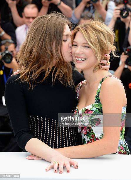 Adele Exarchopoulos and Lea Seydoux attend the Photocall for 'La Vie D'Adele' during The 66th Annual Cannes Film Festival at the Palais des Festival...