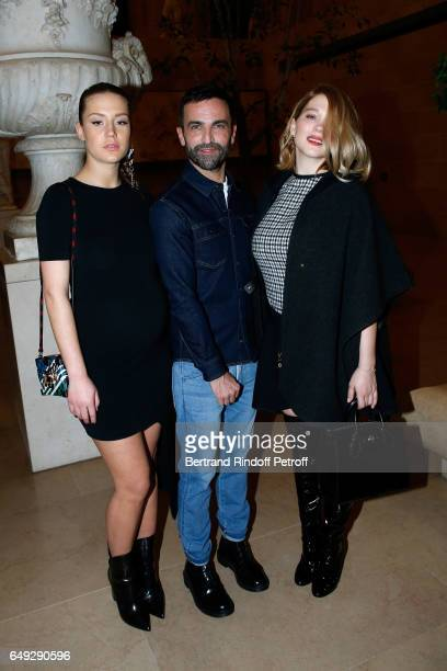 Adele Exarchopoulos Stylist Nicolas Ghesquiere and Lea Seydoux pose after the Louis Vuitton show as part of the Paris Fashion Week Womenswear...