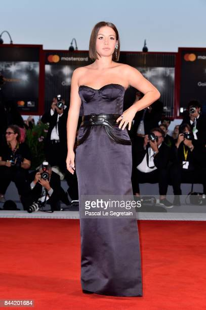 Adele Exarchopoulos walks the red carpet ahead of the 'Racer And The Jailbird ' screening during the 74th Venice Film Festival at Sala Grande on...