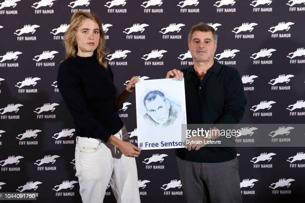 Adele Haenel and Pierre Salvadori hold a photo of the Ukrainian filmmaker Oleg Gennadyevich Sentsov to support the international campaign for the...
