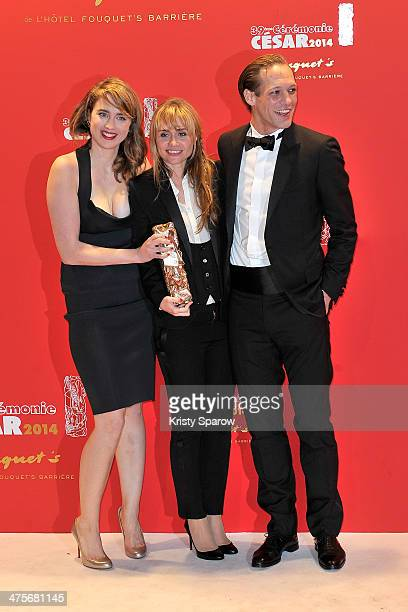 Adele Haenel Katell Quillevere and Paul Hamy arrive to Le Fouquet's following the 39th Cesar Film Awards 2014 on February 28 2014 in Paris France