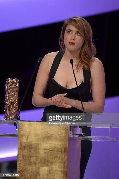 Adele Haenel receives the Best Supporting Actress for 'Suzanne' on stage during the 39th Cesar Film Awards 2014 at Theatre du Chatelet on February 28...