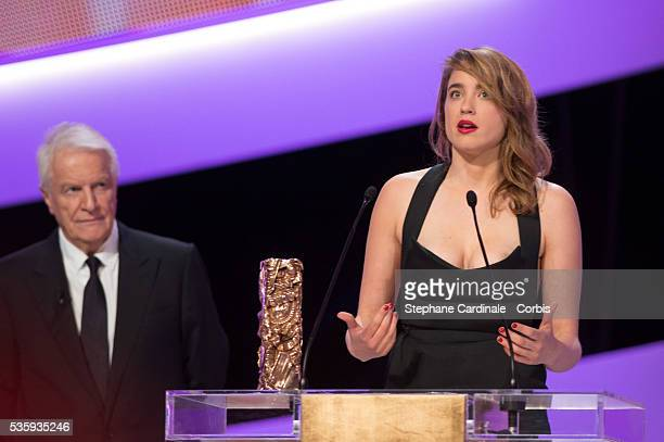 Adele Haenel receives the Best Supporting Actress for 'Suzanne' on stage during the 39th Cesar Film Awards 2014 at Theatre du Chatelet, in Paris.