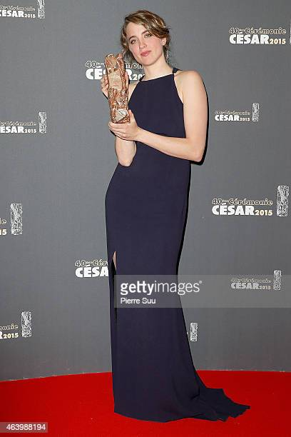 Adele Haenel who received the award of Best Actress in 'Les Combattants' poses in the Award room during the 40th Cesar Film Awards 2015 at Theatre du...