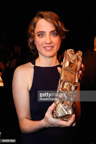 Adele Haenel who received the award of Best Actress in 'Les Combattants' poses backstage after the 40th Cesar Film Awards 2015 Ceremony at Theatre du...