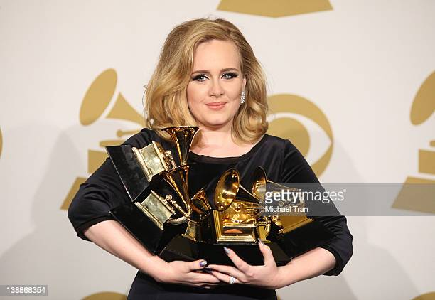 Adele holds her 6 GRAMMYS at the 54th Annual GRAMMY Awards - press room held at Staples Center on February 12, 2012 in Los Angeles, California.