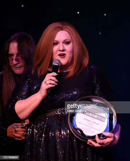 LAS Adele impersonator Andrea Tyler of Florida accepts the Pop N Rock for Reel award during The Reel Awards 2020 at Marilyn's Lounge inside the...